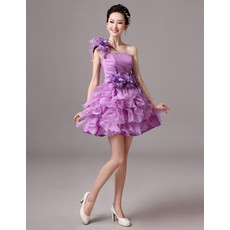 Girls A-Line One Shoulder Short Homecoming/ Party Dress