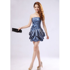 Affordable Girls Sheath Strapless Short Taffeta Cocktail Homecoming/ Party Dress