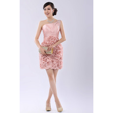 Affordable Girls One Shoulder Short Ruffle Cocktail Homecoming/ Party Dress