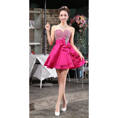 Girls Cheap A-Line Sweetheart Short Satin Beaded Cocktail Homecoming/ Party Dress