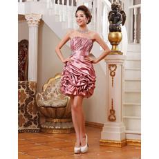 Affordable Girls Column Strapless Short Taffeta Cocktail Homecoming Dress
