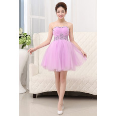 Girls Cheap Classic A-Line Sweetheart Short Tulle Cocktail Homecoming Dress