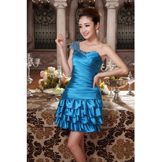 Girls One Shoulder Short Satin Cocktail Homecoming/ Party Dress