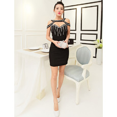 Girls Sexy Sheath Sweetheart Short Black Satin Cocktail Homecoming Dress