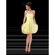 Affordable Girls Strapless Chiffon Short Yellow Homecoming/ Party Dress