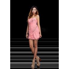 Girls Pretty Sheath Spaghetti Straps Short Chiffon Homecoming Dress
