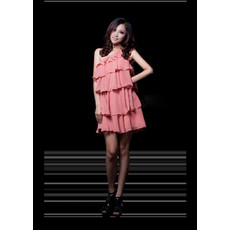 Girls lovely One Shoulder Tiered Chiffon Short Homecoming Dress