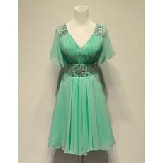 Cheap Classy Simple Pretty Chiffon V-Neck Short Homecoming/ Party Dress