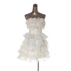 Affordable Junior Strapless Short Tiered Homecoming/ Party Dress