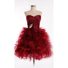 Inexpensive Fitted Sweetheart Short Organza Ruffle Homecoming Dress