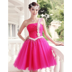 Nice A-Line One Shoulder Short Homecoming/ Party Dress