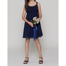 Simple Empire Straps Short/ Mini Chiffon Junior Bridesmaid Dress
