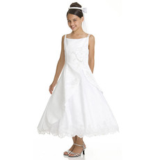 Girls Classic A-Line Straps Sleeveless Tea Length Satin Beading First Communion Dress