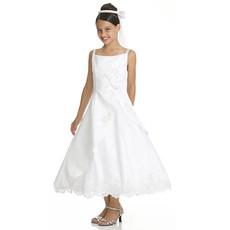 Girls Classic A-Line Straps Sleeveless Tea Length Satin Beading First Communion Dress