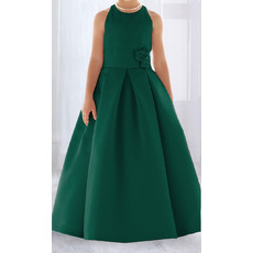 Ball Gown Round Full Length Satin Flower Girl/ Easter Dress