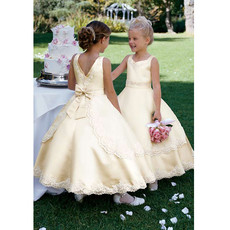 Girls Classic Lovely Ball Gown Ankle Length Satin First Communion Dress