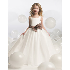 Classic Ball Gown Square Neck Floor Length Satin Bow Flower Girl Dress with Bow/ First Communion Dress