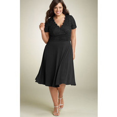 Affordable Classy A-Line Knee Length Chiffon Lace Plus Size Mother of the Bride Dress