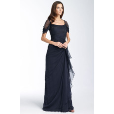 Affordable Modest Sheath Chiffon Mother of the Bride Dress with Sleeves/ Long Mother of the Groom Dress