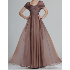 Women's Modern Stylish Long Chiffon Mother of the Bride Dress with Cap Sleeves