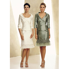 Women's Classy Two Piece Short Mother of the Bride/ Groom Dress with Jackets