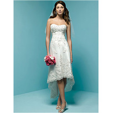 Inexpensive Classic Charming Empire Waist Asymmetric High-Low Short Beach Wedding Dress
