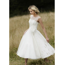 Affordable Romantic Summer Casual Tea Length Short Reception Wedding Dress