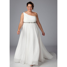 Simple A-Line One Shoulder Chiffon Court Train Wedding Dress with Beaded