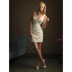 Custom Charming Sheath V-Neck Lace Short Reception Petite Wedding Dress and Gown