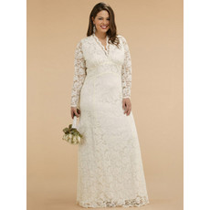 Classic Empire V-Neck Plus Size Floor Length Embroidery Reception Lace Bridal Dress with Long Sleeves