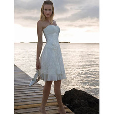 Classic Charming A-Line Strapless Short Beach Lace Petite Wedding Dress Under 100