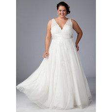 Simple A-Line V-Neck Floor Length White Chiffon Plus Size Wedding Dress