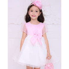 Inexpensive Pretty Empire Short Pink Flower Girl Dress with Short Sleeves