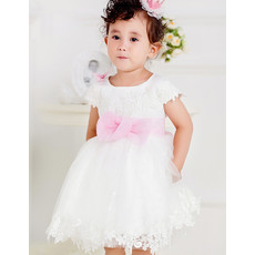 Infant Baby Girl Ball Gown Short Tulle Flower Girl Princess Dress with Sashes