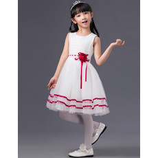 Kids A-Line Sleeveless Knee Length Tulle Flower Girl Princess Dress