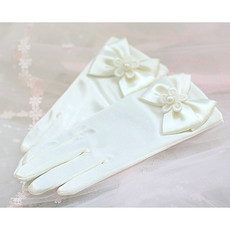 White communion gloves/ Short Flower Girl Gloves with Bows