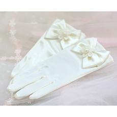 White communion gloves/ Short Flower Girl Gloves with Bows