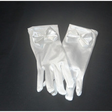 Short Wrist Elastic Satin Flower Girl/ First Communion Gloves with Bow