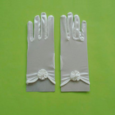 Short Wrist Elastic Satin Gloves with Flowers for Girls