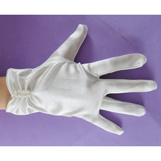 Short Wrist Elastic Satin Flower Girl/ First Communion Gloves with Beads