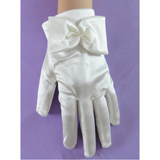 Short Wrist Elastic Satin Gloves with Bow for Girls