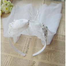 Cute White Tulle Flower Girl Veils with Bows