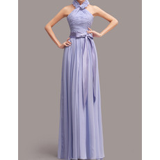 Halter Floor Length Chiffon Bridesmaid Dress with Sashes