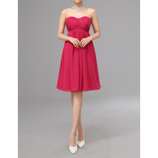 Empire Sweetheart Knee Length Chiffon Bridesmaid Dress
