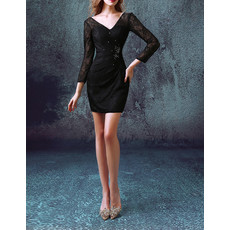 Sheath V-Neck Short Lace Black Cocktail Dress with Long Sleeves