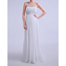 Women's Simple Column Sweetheart Sleeveless Long Chiffon Plus Size Evening Dress