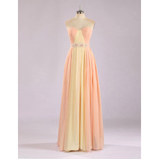 Custom Chic Sweetheart Floor Length Chiffon Multicolor Formal Evening Dress