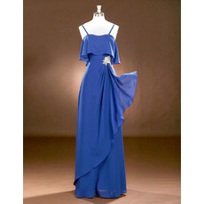 Spaghetti Straps Floor Length Chiffon Drape Evening Dresses