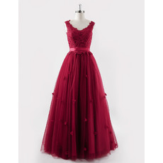 Classic Modern Ball Gown Long Red Organza Embroidery Formal Evening Dress