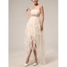 Junior Pretty Empire Waist Strapless Short Chiffon Ruffle Homecoming Dress